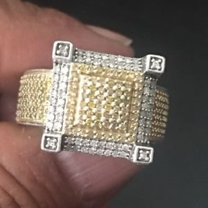 VTG Clustered Yellow & Clear Genuine Diamond Ring